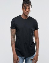 Pull&Bear Longline T-Shirt In Black With Curved Hem