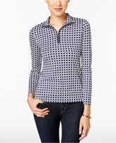 Charter Club Petite Grid-Print Mock-Neck Zip Top, Only at Macy's