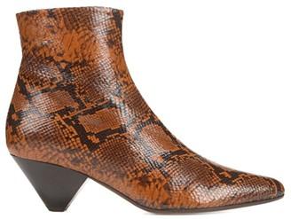 Vince Alder Snakeskin-Embossed Leather Ankle Boots