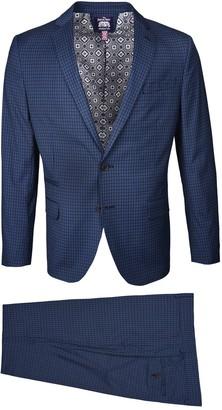 Savile Row Co Navy Check Notch Lapel Slim Fit Suit