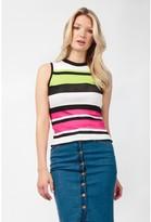 Select Fashion Fashion Womens Pink Colour Block Stripe Roll Neck Top - size 6