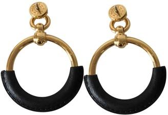 Hermes Loop Black Leather Earrings
