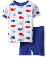 New Jammies Little Boys' Organic Pajama Short Set Whales, White/Roy