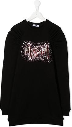 Msgm Kids TEEN logo-embellished shift dress
