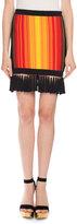 Balmain Sunset Fringe Mini Skirt, Red/Orange