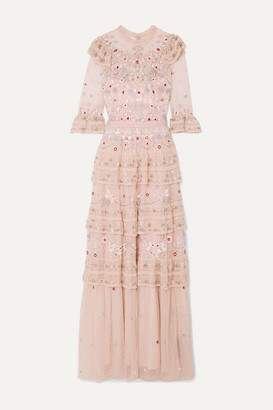 Needle & Thread Eden Tiered Embellished Tulle Gown - Blush