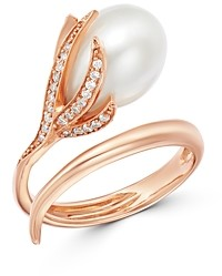 Own Your Story 14K Rose Gold Diamond & Freshwater Pearl Flower Ring