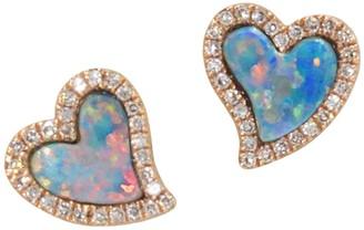 Kamaria Amore Opal Heart Studs Earrings With Diamonds