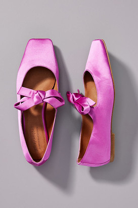 Jeffrey Campbell Bow Square-Toed Flats By in Purple Size 7