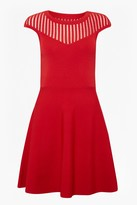 French Connection Rose Crepe Mesh Fit and Flare Dress