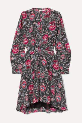 Etoile Isabel Marant Yandra Floral-print Silk Crepe De Chine Dress - Black