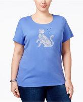 Karen Scott Plus Size Kitten Graphic T-Shirt, Only at Macy's
