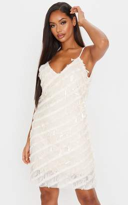 PrettyLittleThing Nude Sequin Fluff Shift Dress
