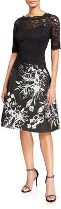 Rickie Freeman For Teri Jon Elbow-Sleeve Lace Bodice Dress w/ Embroidered Skirt