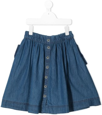 Molo Button-Up Pleated Denim Skirt