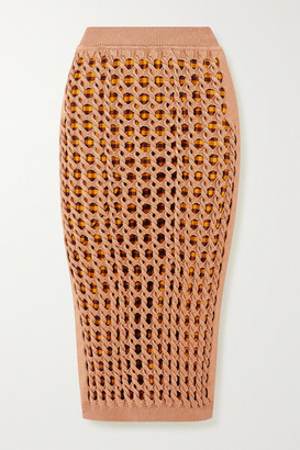 Fendi Crochet-knit Midi Skirt - Peach