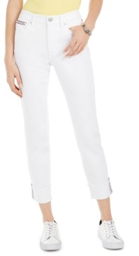 Tommy Hilfiger Striped-Cuff Cropped Jeans