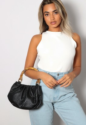 Missguided Black Woven Bamboo Handle Bag