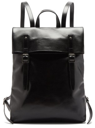 Saint Laurent Foldover Leather Backpack - Black