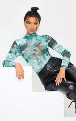 PrettyLittleThing Emerald Green Dragon Print Mesh High Neck Long Sleeve Bodysuit