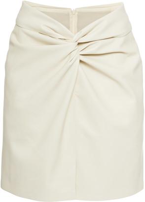 Nanushka Milo Gathered Leather Mini Skirt