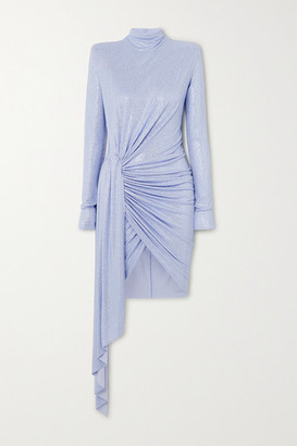 Alexandre Vauthier Ruched Draped Crystal-embellished Stretch-jersey Mini Dress - Light blue
