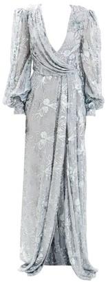 J. Mendel Beaded Metallic Drape V-Neck Gown