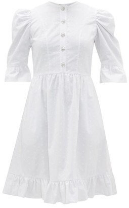 Batsheva Crystal-button Broderie-anglaise Cotton Dress - Womens - White