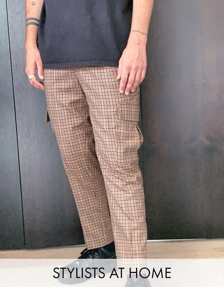 ASOS DESIGN tapered crop smart pants with cargo pockets in brown check