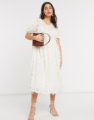 Sister Jane oversized midi smock dress with full skirt in texture