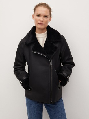 MANGO Aviator Coat - Black