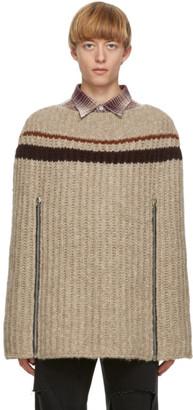 Raf Simons Beige Transformer Cape Sweater