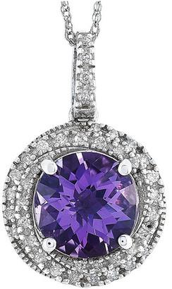 Non Branded 14K 0.23 Ct. Tw. Diamond & Amethyst Necklace