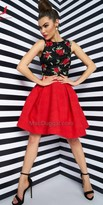 Mac Duggal Two Piece Rose Pattern Homecoming Dress