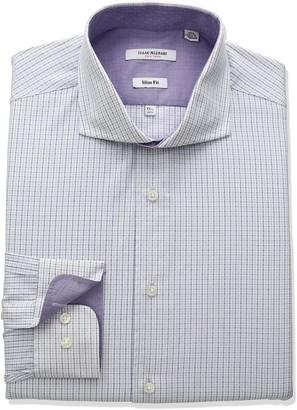 Isaac Mizrahi Men's Slim Fit Multi Colored Tatersol Cut Away Collar Dress Shirt