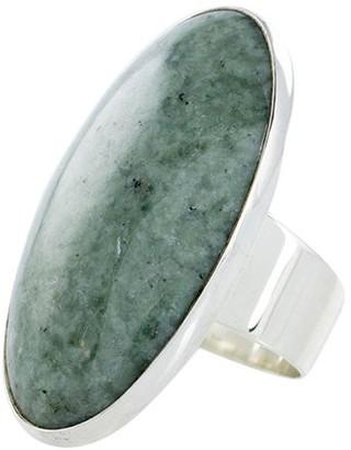 Novica Artisan Crafted Sterling Elongated Jade Ring