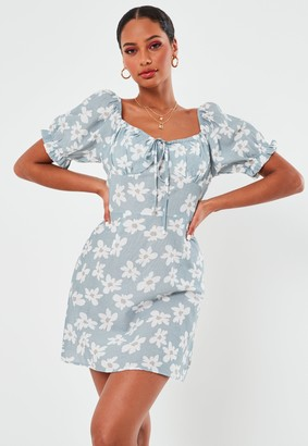 Missguided Blue Floral Print A Line Milkmaid Mini Dress