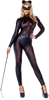 Forplay Women's Luscious Lynx Catsuit with Mesh Insets and Headband