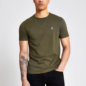River Island R96 khaki slim fit T-shirt