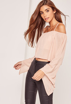 Missguided Bardot Flared Sleeve Crop Top Nude