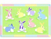Olive Kids Kids Meal Time Placemat w Bunnies & Multi-Colored Border