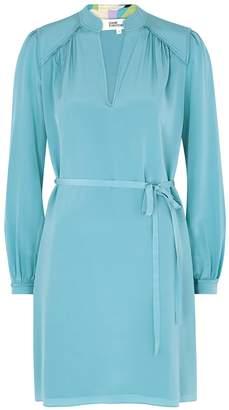 Diane von Furstenberg Glenda Blue Silk Shirt Dress