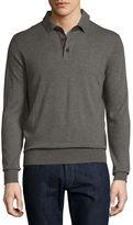 Neiman Marcus Cashmere Long-Sleeve Polo Sweater, Dark Smoke