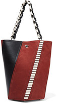 Proenza Schouler Hex Paneled Leather And Suede Tote - Brick