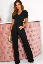 Pink Boutique Cosmic Black Puff Sleeve Jumpsuit