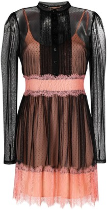 Twin-Set Sheer Overlay Lace-Trim Dress