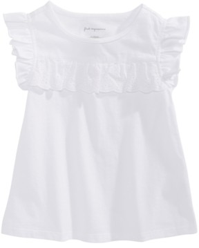 First Impressions Baby Girls Eyelet-Flutter Cotton T-Shirt, Created for Macy's