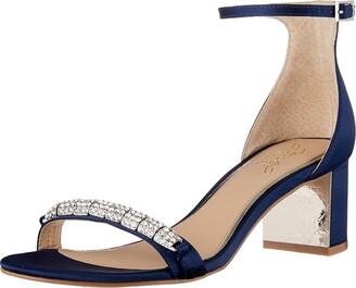 Badgley Mischka Jewel Women's Ramsay Heeled Sandal Navy Satin 5.5 M US