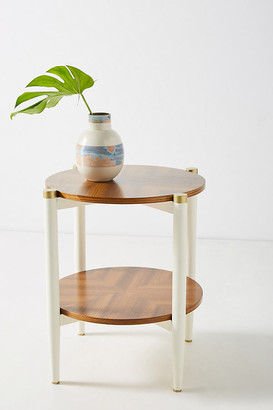 Anthropologie Geo-Marquetry Side Table By in Brown Size ALL