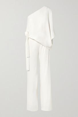Halston One-shoulder Crepe Jumpsuit - Off-white